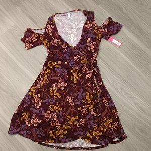 NWT Xhilaration Ribbed Cold Shoulder Wrap Dress